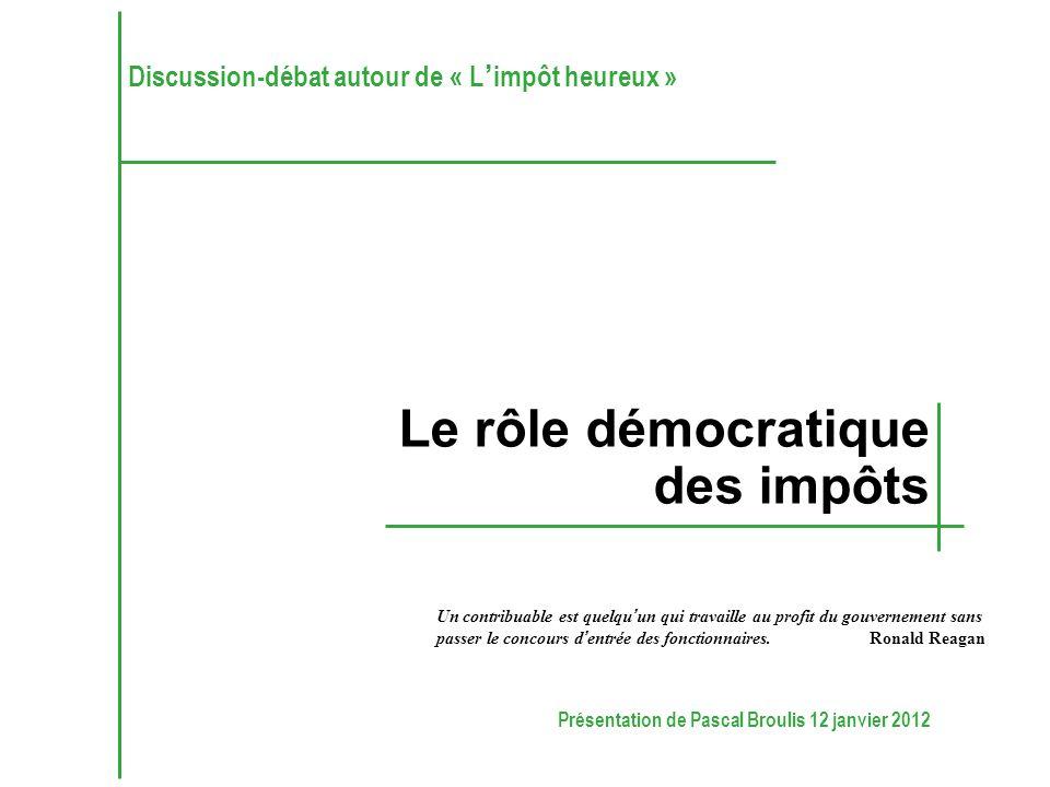 Présentation de Pascal Broulis 12 janvier 2012 Un contribuable est quelqu'un qui travaille au profit du gouvernement sans passer le concours d'entrée