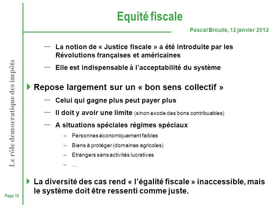 Page 15 Pascal Broulis, 12 janvier 2012 Le rôle démocratique des impôts Equité fiscale ─ La notion de « Justice fiscale » a été introduite par les Rév