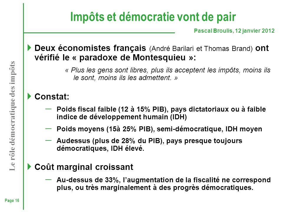 Page 16 Pascal Broulis, 12 janvier 2012 Le rôle démocratique des impôts Impôts et démocratie vont de pair  Deux économistes français (André Barilari
