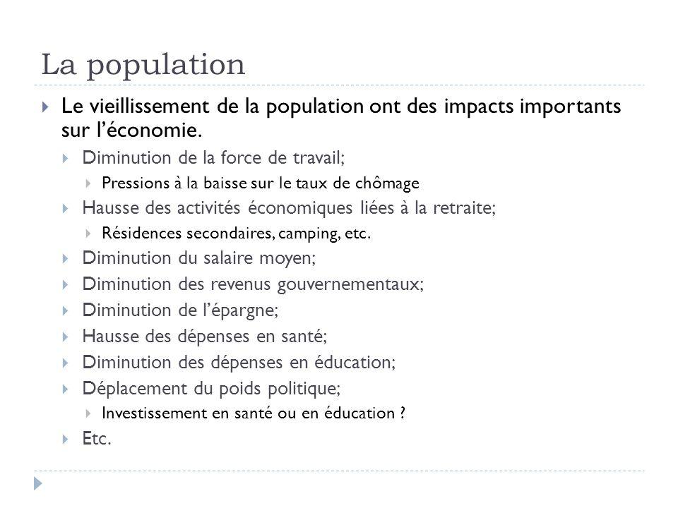 La population  Le vieillissement de la population ont des impacts importants sur l'économie.