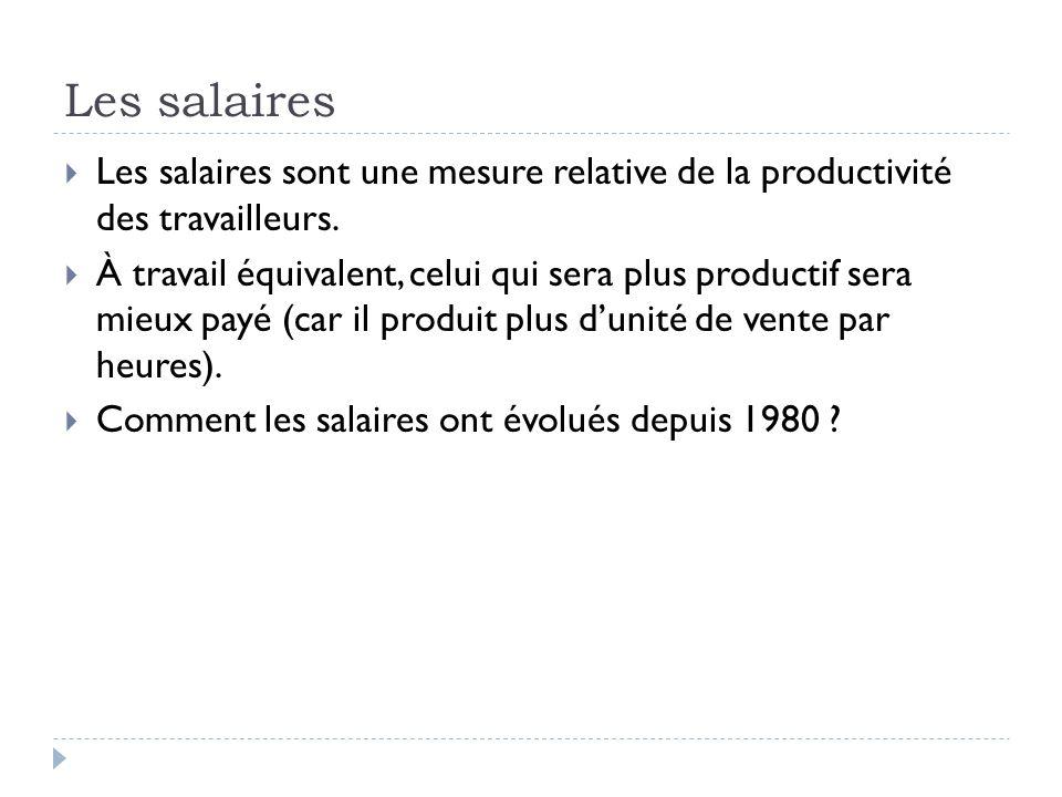 Les salaires  Les salaires sont une mesure relative de la productivité des travailleurs.