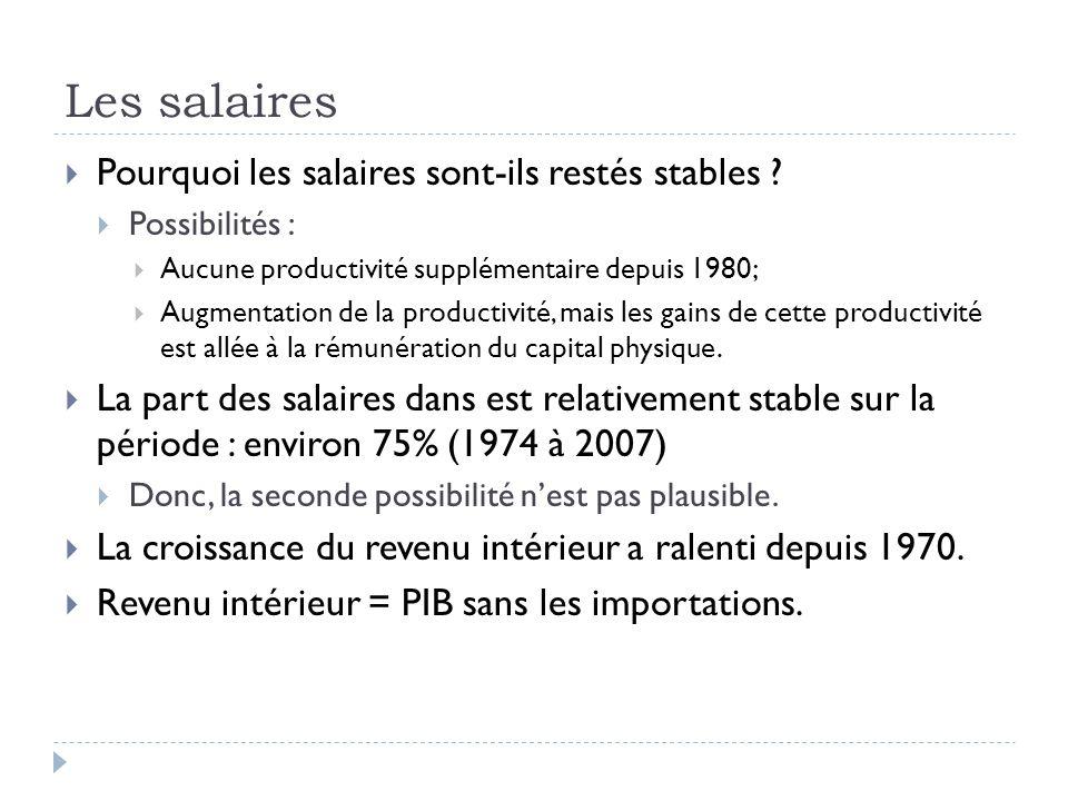 Les salaires  Pourquoi les salaires sont-ils restés stables .
