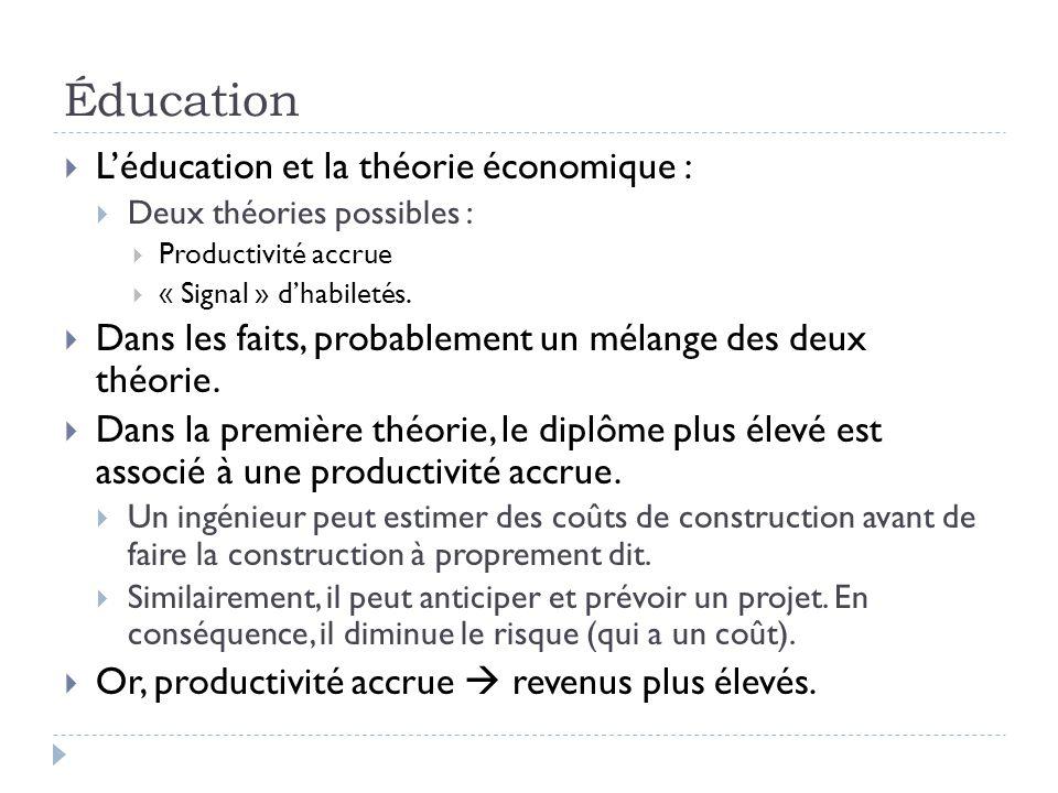 Éducation  L'éducation et la théorie économique :  Deux théories possibles :  Productivité accrue  « Signal » d'habiletés.