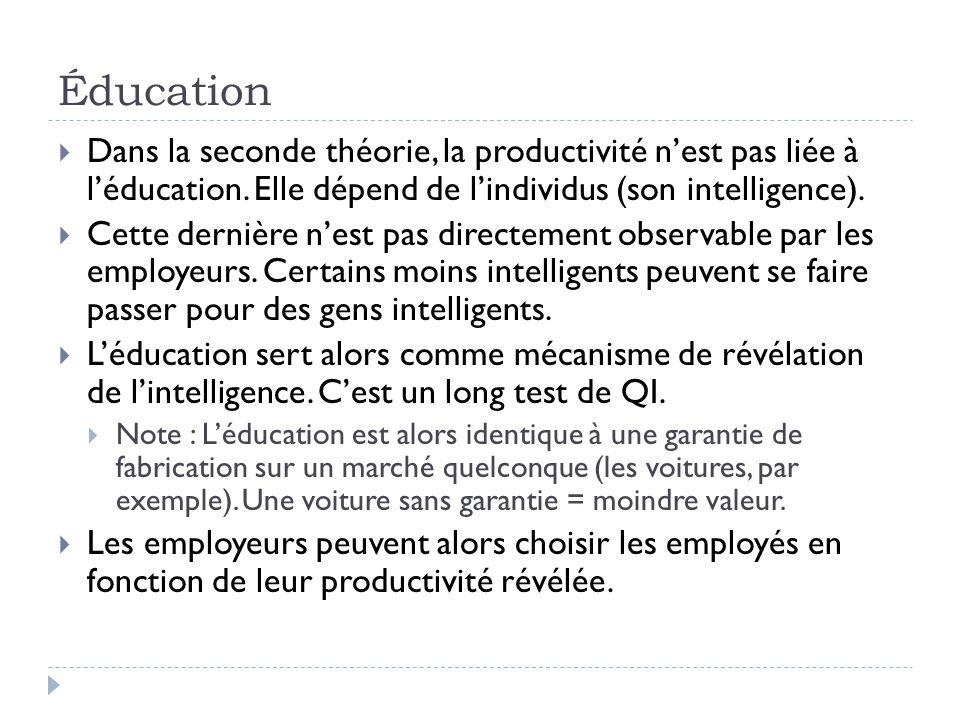 Éducation  Dans la seconde théorie, la productivité n'est pas liée à l'éducation.