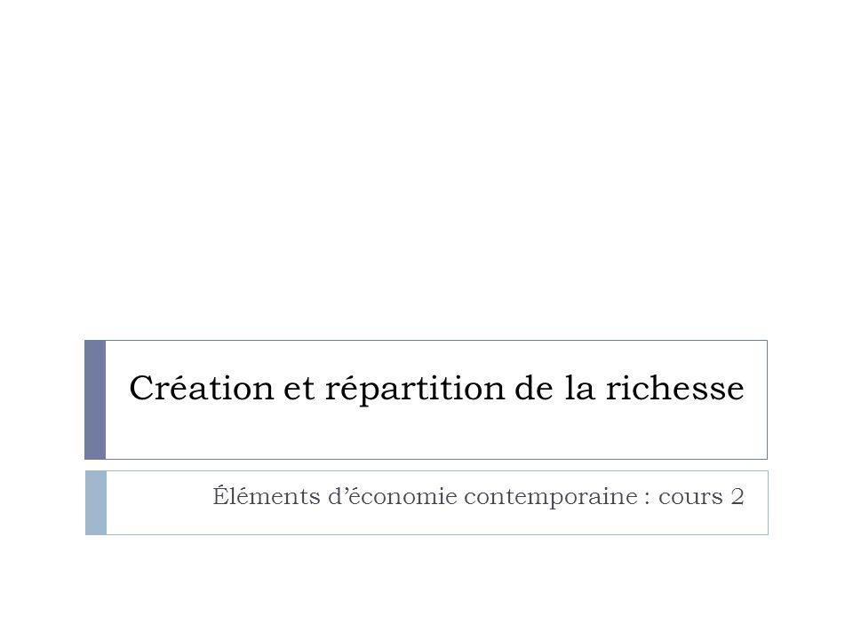 Création et répartition de la richesse Éléments d'économie contemporaine : cours 2