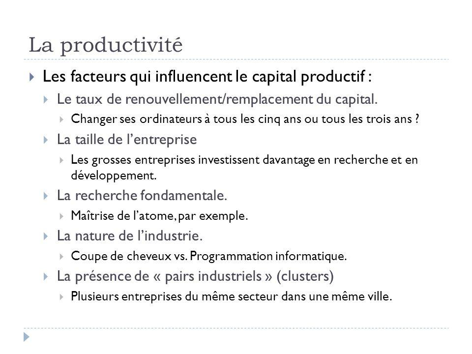  Les facteurs qui influencent le capital productif :  Le taux de renouvellement/remplacement du capital.  Changer ses ordinateurs à tous les cinq a
