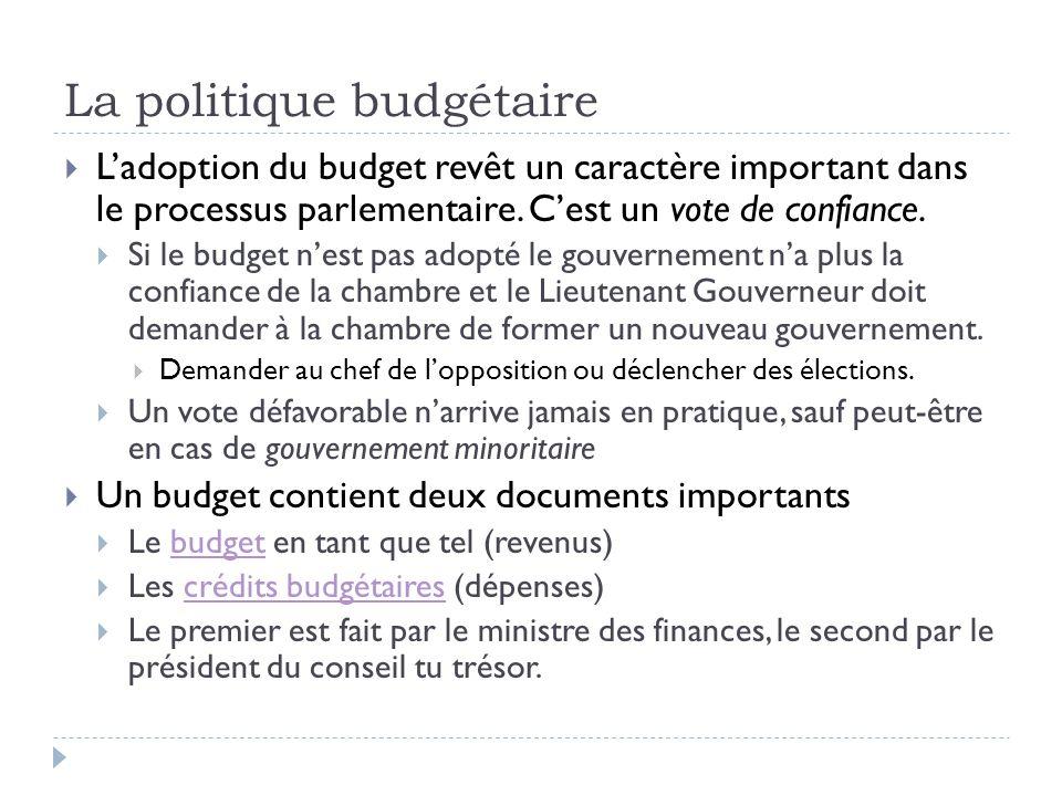 La politique budgétaire  L'adoption du budget revêt un caractère important dans le processus parlementaire. C'est un vote de confiance.  Si le budge