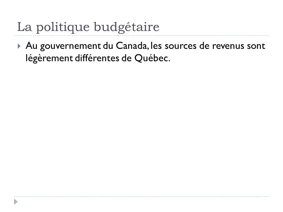 La politique budgétaire  Au gouvernement du Canada, les sources de revenus sont légèrement différentes de Québec.