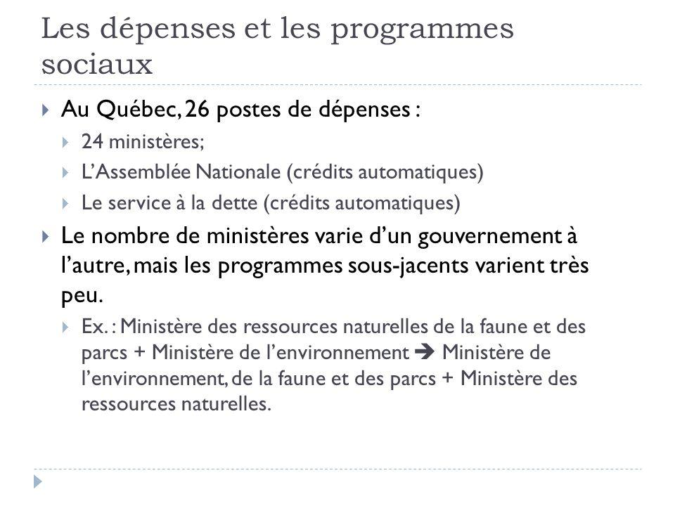 Les dépenses et les programmes sociaux  Au Québec, 26 postes de dépenses :  24 ministères;  L'Assemblée Nationale (crédits automatiques)  Le servi