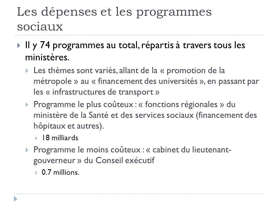 Les dépenses et les programmes sociaux  Il y 74 programmes au total, répartis à travers tous les ministères.  Les thèmes sont variés, allant de la «