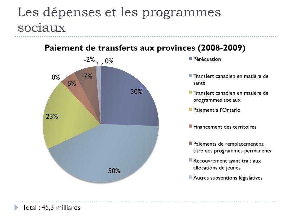 Les dépenses et les programmes sociaux Total : 45,3 milliards