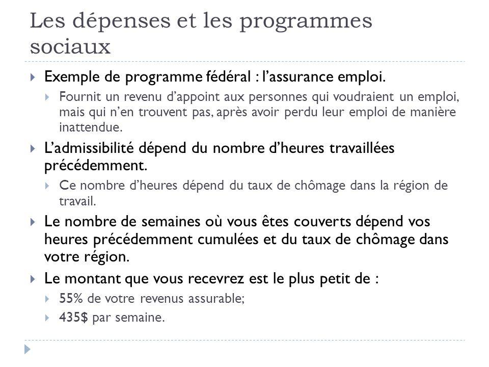Les dépenses et les programmes sociaux  Exemple de programme fédéral : l'assurance emploi.  Fournit un revenu d'appoint aux personnes qui voudraient