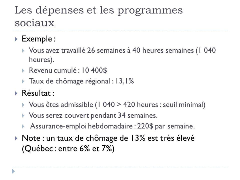 Les dépenses et les programmes sociaux  Exemple :  Vous avez travaillé 26 semaines à 40 heures semaines (1 040 heures).  Revenu cumulé : 10 400$ 