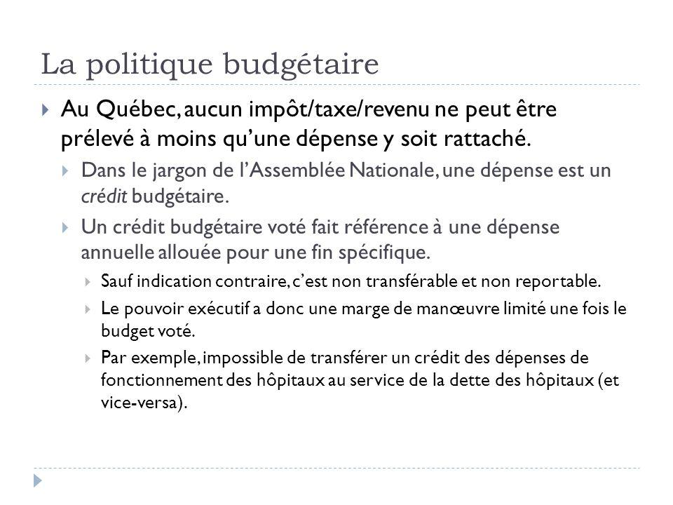 La politique budgétaire  Au Québec, aucun impôt/taxe/revenu ne peut être prélevé à moins qu'une dépense y soit rattaché.  Dans le jargon de l'Assemb