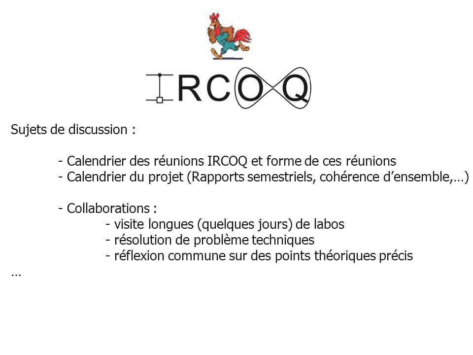 Sujets de discussion : - Calendrier des réunions IRCOQ et forme de ces réunions - Calendrier du projet (Rapports semestriels, cohérence d'ensemble,…) - Collaborations : - visite longues (quelques jours) de labos - résolution de problème techniques - réflexion commune sur des points théoriques précis …