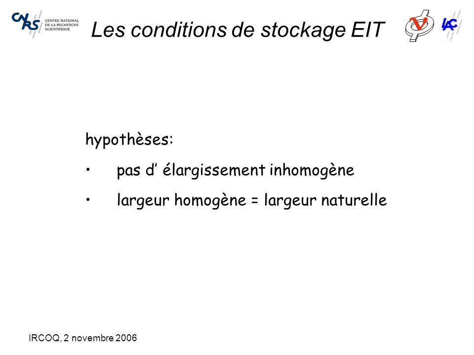 IRCOQ, 2 novembre 2006 Les conditions de stockage EIT hypothèses: pas d' élargissement inhomogène largeur homogène = largeur naturelle