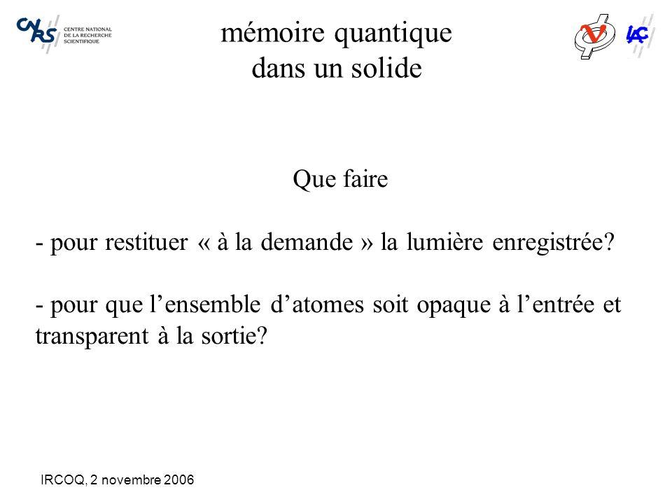 IRCOQ, 2 novembre 2006 mémoire quantique dans un solide Que faire - pour restituer « à la demande » la lumière enregistrée? - pour que l'ensemble d'at