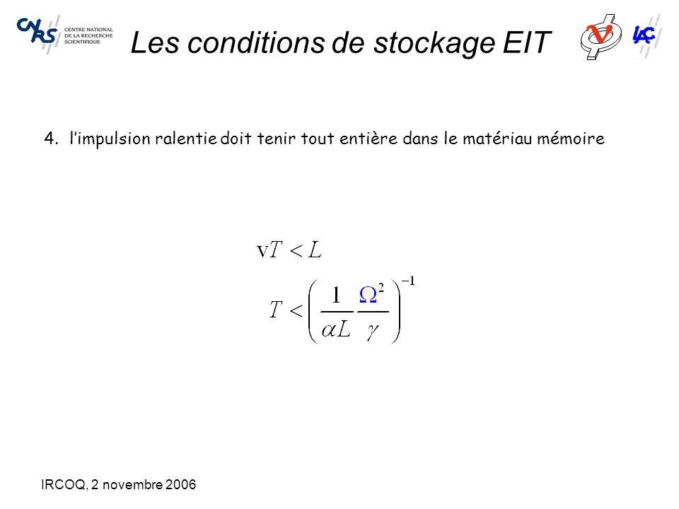 IRCOQ, 2 novembre 2006 Les conditions de stockage EIT 4.l'impulsion ralentie doit tenir tout entière dans le matériau mémoire