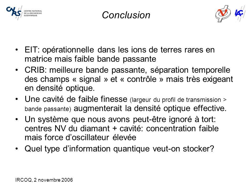 IRCOQ, 2 novembre 2006 Conclusion EIT: opérationnelle dans les ions de terres rares en matrice mais faible bande passante CRIB: meilleure bande passan