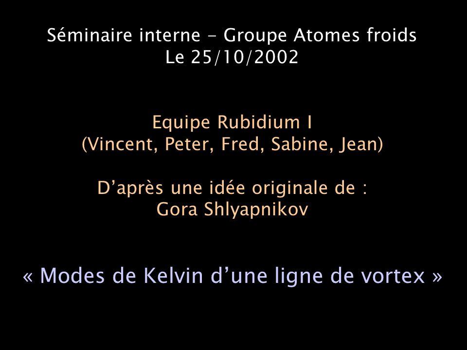 Séminaire interne - Groupe Atomes froids Le 25/10/2002 Equipe Rubidium I (Vincent, Peter, Fred, Sabine, Jean) D'après une idée originale de : Gora Shlyapnikov « Modes de Kelvin d'une ligne de vortex »