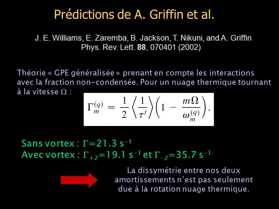 Prédictions de A. Griffin et al. J. E. Williams, E. Zaremba, B. Jackson, T. Nikuni, and A. Griffin Phys. Rev. Lett. 88, 070401 (2002) Théorie « GPE gé