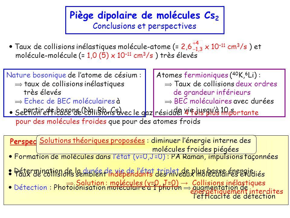  Formation de molécules dans l'état (v=0,J=0) : PA Raman, impulsions façonnées  Détermination de la durée de vie de l'état triplet de plus basse énergie  Détection : Photoionisation moléculaire à 1 photon  augmentation de l'efficacité de détection Perspectives : Nature bosonique de l'atome de césium :  taux de collisions inélastiques très élevés  Echec de BEC moléculaires à partir de bosons (Na, Rb, Cs) Piège dipolaire de molécules Cs 2 Conclusions et perspectives Solutions théoriques proposées : diminuer l'énergie interne des molécules froides piégées  Taux de collisions semblent indépendants des niveaux moléculaires étudiés  Solution : molécules (v=0, J=0) → Collisions inélastiques énergétiquement interdites  Section efficace de collisions avec le gaz résiduel 4 fois plus importante pour des molécules froides que pour des atomes froids Atomes fermioniques ( 40 K, 6 Li) :  Taux de collisions deux ordres de grandeur inférieurs  BEC moléculaires avec durées de vie jusqu'à 10 s  Taux de collisions inélastiques molécule-atome (= 2,6 x 10 -11 cm 3 /s ) et molécule-molécule (= 1,0 (5) x 10 -11 cm 3 /s ) très élevés