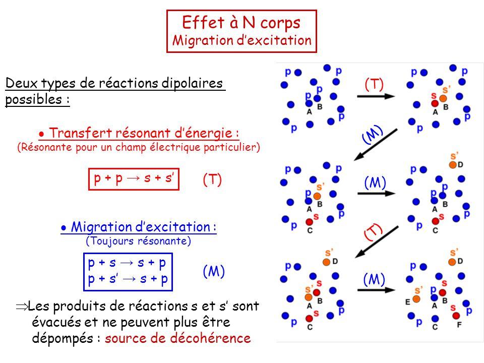 Effet à N corps Migration d'excitation Deux types de réactions dipolaires possibles :  Transfert résonant d'énergie : (Résonante pour un champ électrique particulier) p + p → s + s'  Migration d'excitation : (Toujours résonante) p + s → s + p p + s' → s + p  Les produits de réactions s et s' sont évacués et ne peuvent plus être dépompés : source de décohérence (T) (M) (T) (M) (T) (M)