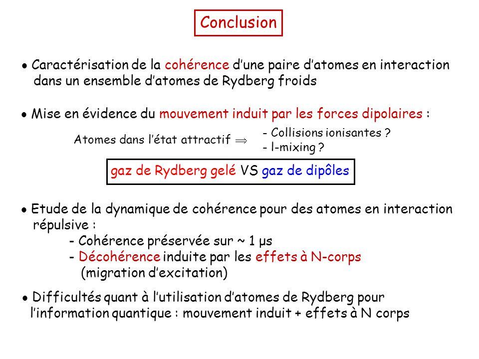 Conclusion  Caractérisation de la cohérence d'une paire d'atomes en interaction dans un ensemble d'atomes de Rydberg froids  Etude de la dynamique de cohérence pour des atomes en interaction répulsive : - Cohérence préservée sur ~ 1 μs - Décohérence induite par les effets à N-corps (migration d'excitation)  Mise en évidence du mouvement induit par les forces dipolaires : gaz de Rydberg gelé VS gaz de dipôles - Collisions ionisantes .