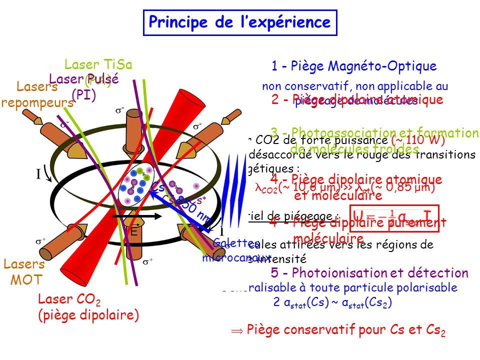 CO2 (~ 10,6 μm) >> at (~ 0,85 μm) Laser CO2 de forte puissance (~ 110 W) très désaccordé vers le rouge des transitions énergétiques :  Particules attirées vers les régions de forte intensité  Généralisable à toute particule polarisable 2 α stat (Cs) ~ α stat (Cs 2 ) Potentiel de piégeage :  Piège conservatif pour Cs et Cs 2 4' - Piège dipolaire purement moléculaire 5 - Photoionisation et détection 3 - Photoassociation et formation de molécules froides non conservatif, non applicable au piégeage de molécules Lasers MOT Lasers repompeurs 1 - Piège Magnéto-Optique Principe de l'expérience 2 - Piège dipolaire atomique Laser CO 2 (piège dipolaire) Laser TiSa (PA) 4 - Piège dipolaire atomique et moléculaire Laser Pulsé (PI) E Galettes microcanaux Cs 2 + Cs + Cs ~ 850 nm