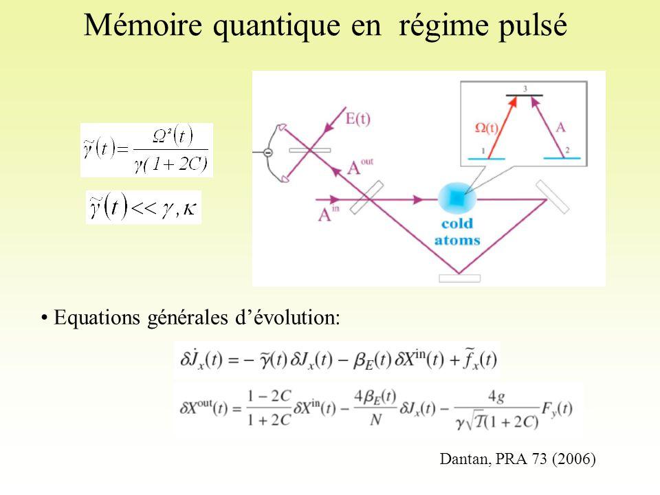 Mémoire quantique en régime pulsé Equations générales d'évolution: Dantan, PRA 73 (2006)