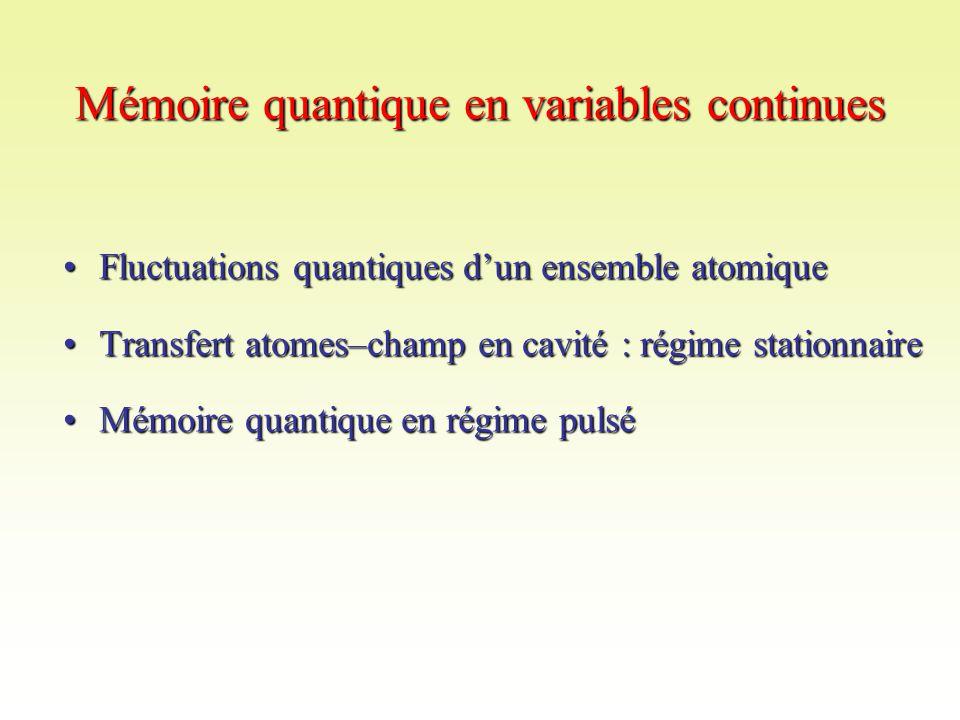 Mémoire quantique en variables continues Fluctuations quantiques d'un ensemble atomiqueFluctuations quantiques d'un ensemble atomique Transfert atomes–champ en cavité : régime stationnaireTransfert atomes–champ en cavité : régime stationnaire Mémoire quantique en régime pulséMémoire quantique en régime pulsé