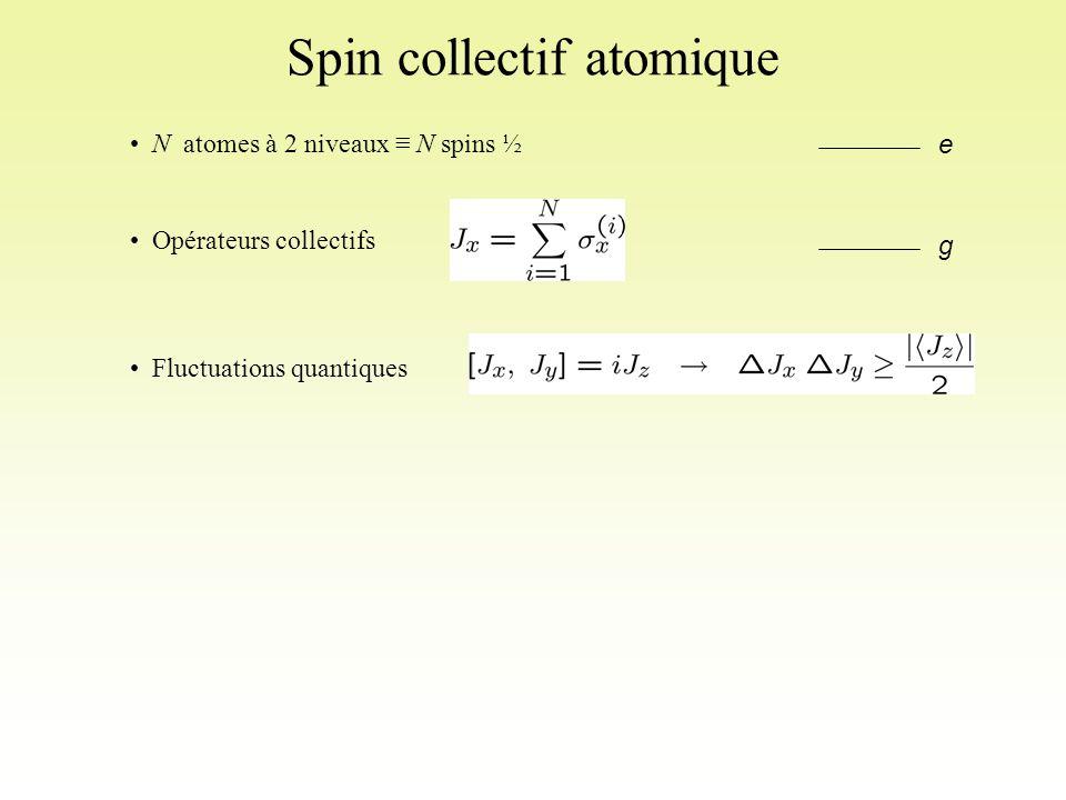 Spin collectif atomique N atomes à 2 niveaux ≡ N spins ½ Opérateurs collectifs Fluctuations quantiques e g
