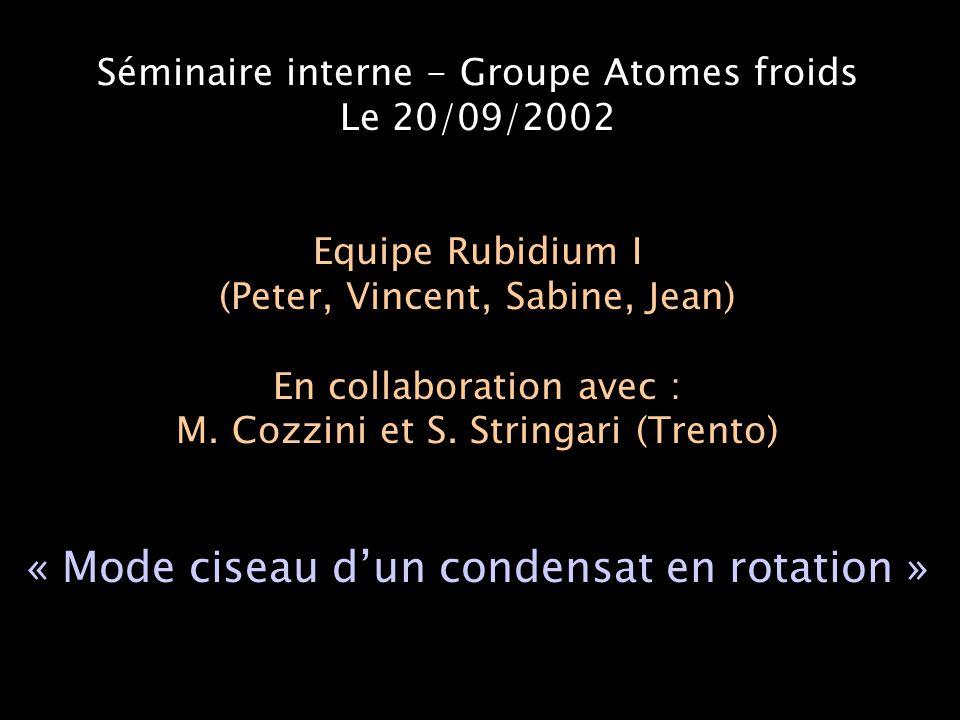 Le mode ciseau dans un piège statique : Principe Guéry-odelin et Stringari, PRL 83, 4452 (1999) Condensat = Pendule de torsion: - moment d'inertie I   (superfluidité) - force de rappel F   Potentiel de déformation : Potentiel magnétique : Pulsation  (F/I) indépendante de 