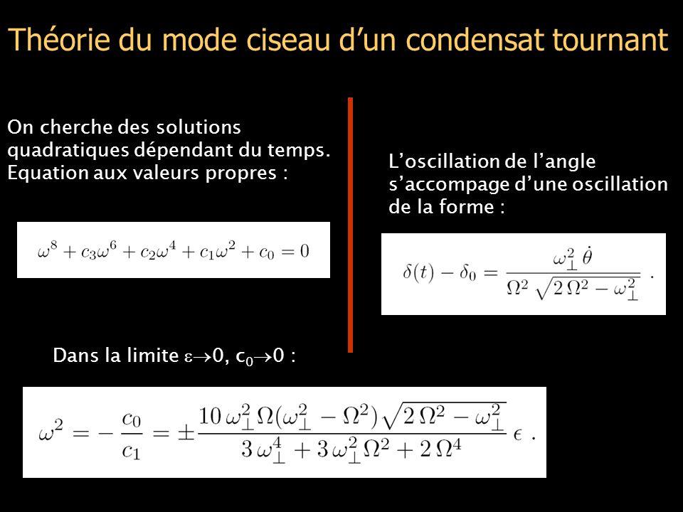 Théorie du mode ciseau d'un condensat tournant On cherche des solutions quadratiques dépendant du temps.