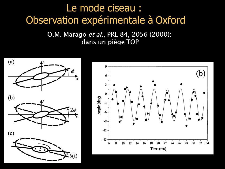Adiabaticité de la mise en rotation Il faut aller plus lentement (Il ne sert à rien de diminuer  ) Amplitude déformation Amplitude angle Nombre de périodes