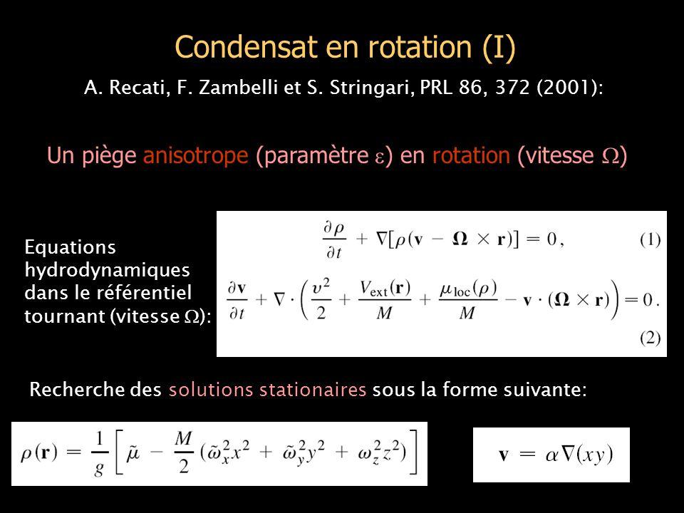 Un condensat en rotation (II) Le paramètre  s'identifie à la déformation du nuage :    (R x 2 -R y 2 )/(R x 2 +R y 2 ) = -   est solution d'une équation cubique :  3 +  (1-2  ) +  = 0 BRISURE SPONTANEE DE SYMETRIE POUR  0