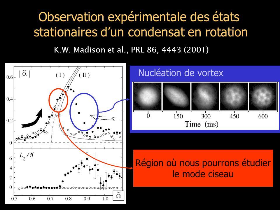 Observation expérimentale des états stationaires d'un condensat en rotation K.W.