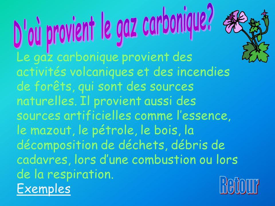 Le gaz carbonique provient des activités volcaniques et des incendies de forêts, qui sont des sources naturelles. Il provient aussi des sources artifi