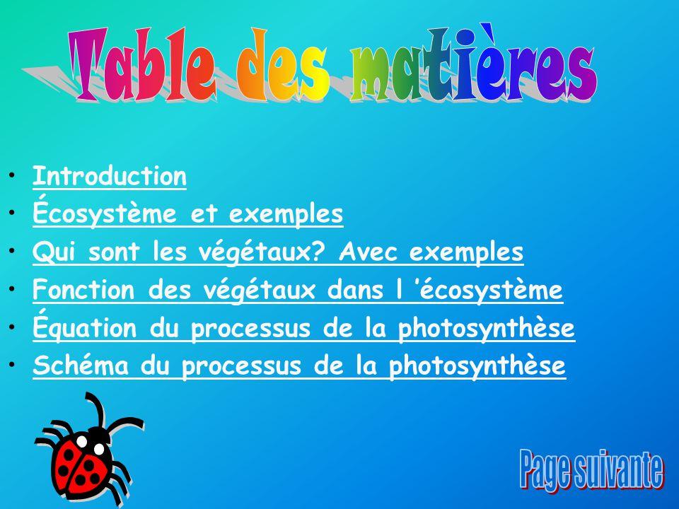 Introduction Écosystème et exemples Qui sont les végétaux? Avec exemples Fonction des végétaux dans l 'écosystème Équation du processus de la photosyn