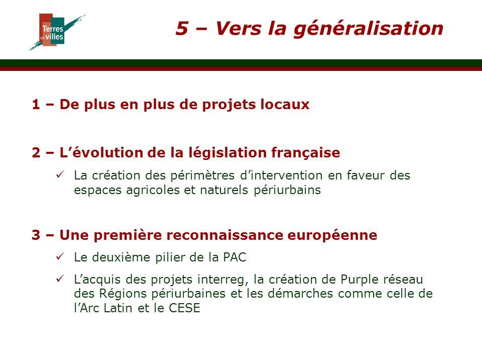 5 – Vers la généralisation 1 – De plus en plus de projets locaux 2 – L'évolution de la législation française La création des périmètres d'intervention