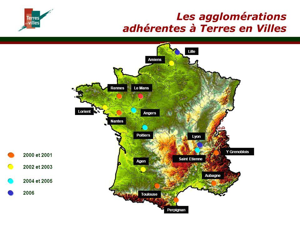 } Utilisation des terres précisée par un cahier des charges annexé Les agglomérations adhérentes à Terres en Villes Amiens Lorient Rennes Nantes Le Ma