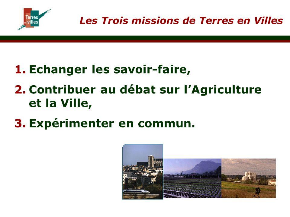 Les Trois missions de Terres en Villes 1. 1.Echanger les savoir-faire, 2. 2.Contribuer au débat sur l'Agriculture et la Ville, 3. 3.Expérimenter en co