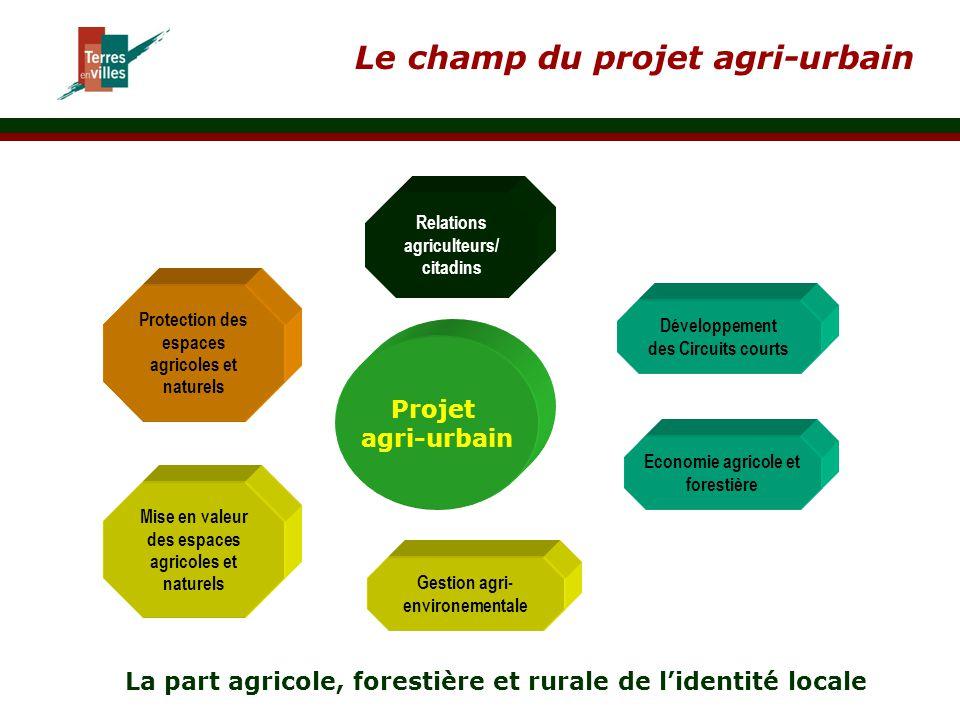 Le champ du projet agri-urbain Projet agri-urbain Relations agriculteurs/ citadins Développement des Circuits courts Economie agricole et forestière M