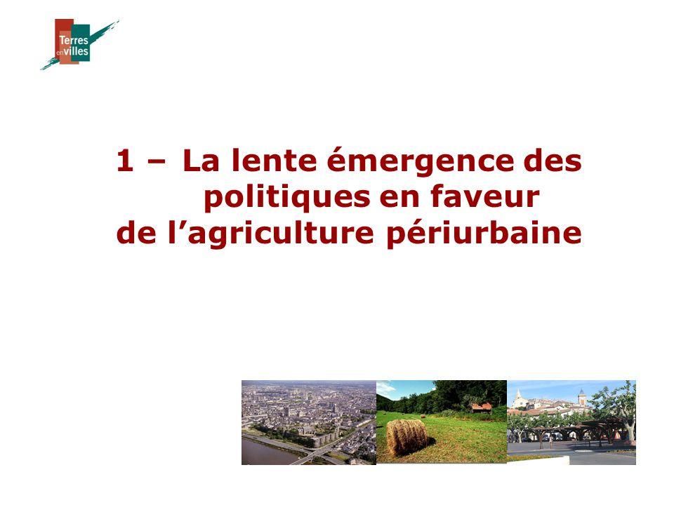 1 –La lente émergence des politiques en faveur de l'agriculture périurbaine
