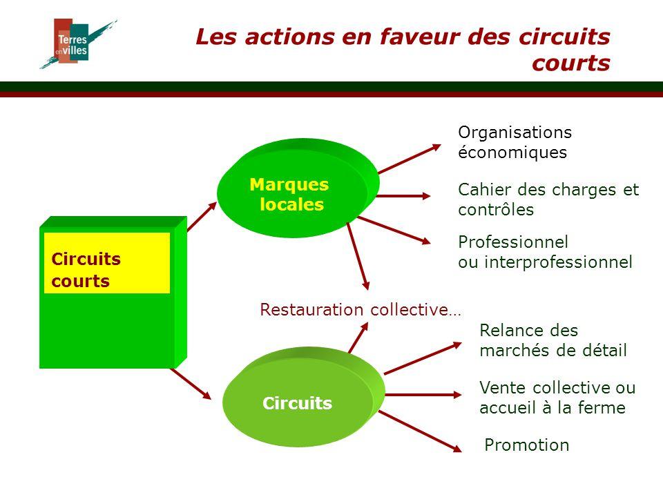 Les actions en faveur des circuits courts Circuits courts Circuits Marques locales Restauration collective… Relance des marchés de détail Vente collec
