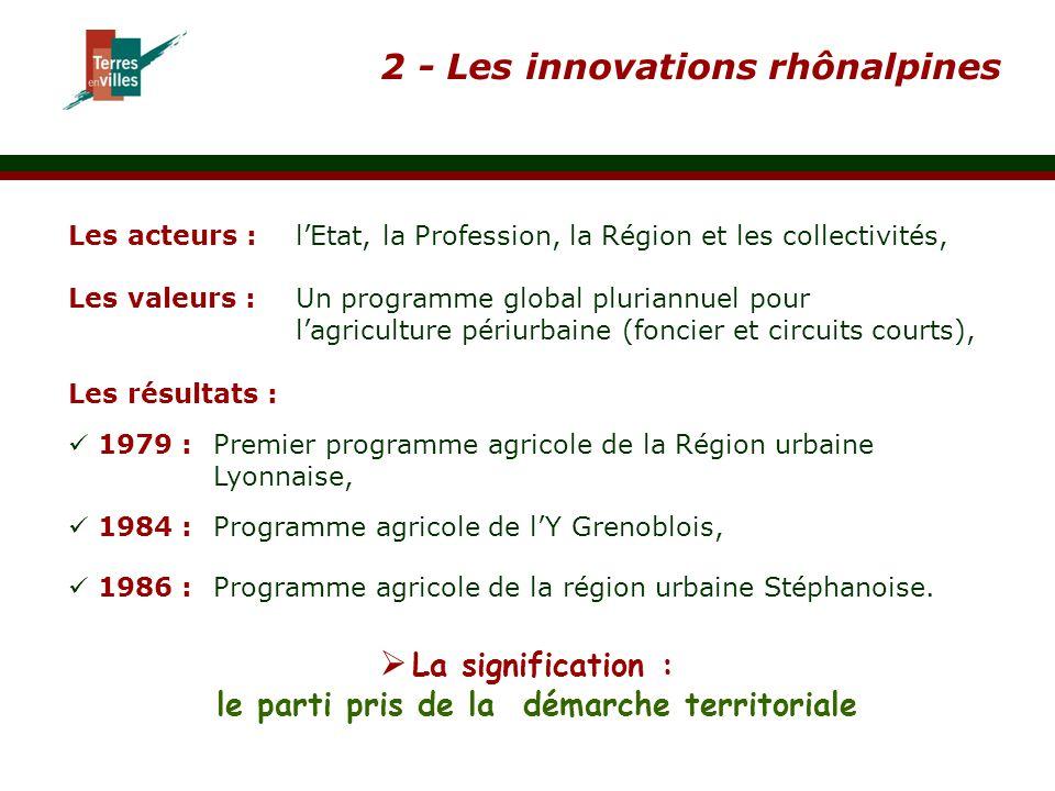 2 - Les innovations rhônalpines Les acteurs :l'Etat, la Profession, la Région et les collectivités, Les valeurs :Un programme global pluriannuel pour