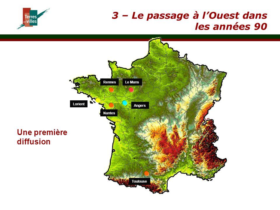 } Utilisation des terres précisée par un cahier des charges annexé 3 – Le passage à l'Ouest dans les années 90 Lorient Rennes Nantes Le Mans Toulouse