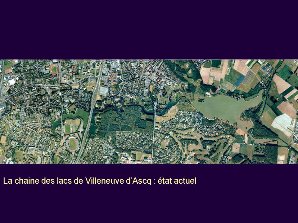 La création de la Ville Nouvelle de Lille-Est, est décidée en 1966 : Autour de deux campus universitaires et d'un complexe sportif métropolitain avec, dès l'origine, l'idée des lacs, imposée par les contraintes du site… Schéma du secteur Est de Lille,1970