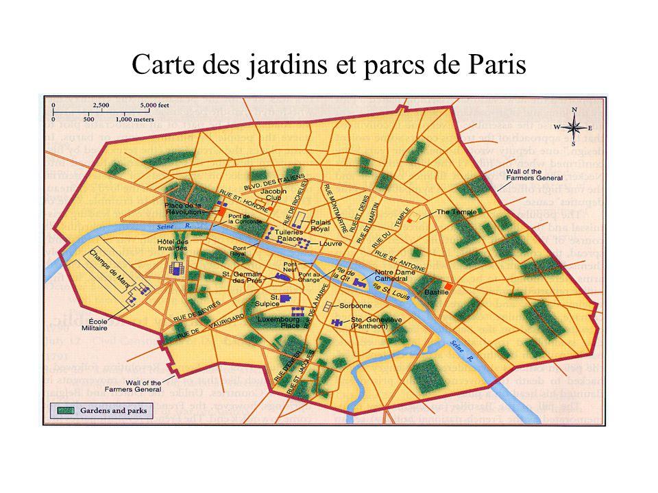 Carte des jardins et parcs de Paris