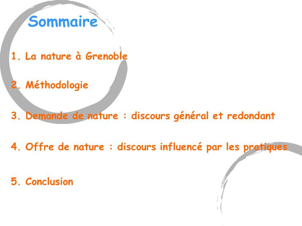 Sommaire 1. La nature à Grenoble 2. Méthodologie 3. Demande de nature : discours général et redondant 4. Offre de nature : discours influencé par les